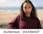 young black woman face portrait ... | Shutterstock . vector #1015306537