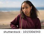 young black woman face portrait ... | Shutterstock . vector #1015306543