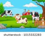 herd of cows at summer green... | Shutterstock .eps vector #1015332283