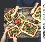 home made italian pizza ... | Shutterstock . vector #1015341697