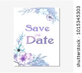 save the date purple floral... | Shutterstock .eps vector #1015345303