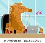 trojan horse virus | Shutterstock .eps vector #1015361413