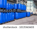blue plastic storage drums... | Shutterstock . vector #1015363603