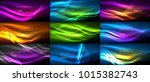 set of neon smooth light... | Shutterstock .eps vector #1015382743