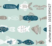 sea seamless pattern with hand... | Shutterstock .eps vector #1015395427