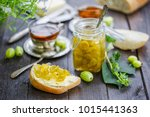 bread with butter and... | Shutterstock . vector #1015441363