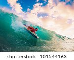 body boarder on large wave... | Shutterstock . vector #101544163