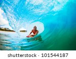 body boarder on large wave... | Shutterstock . vector #101544187
