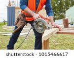 circular saw used by craftsman... | Shutterstock . vector #1015466617