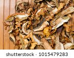 close up of dried mushrooms top ...   Shutterstock . vector #1015479283