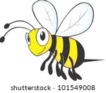 Flying Bee Cartoon - stock vector