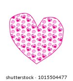 cute big pink hand drawn heart... | Shutterstock . vector #1015504477