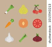 icons fruits and vegetables... | Shutterstock .eps vector #1015543213