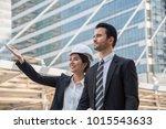 engineer woman with boss... | Shutterstock . vector #1015543633
