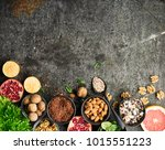 ingredients of a healthy diet... | Shutterstock . vector #1015551223