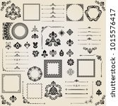 vintage set of horizontal ... | Shutterstock . vector #1015576417