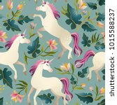 hand drawn vintage unicorn in... | Shutterstock .eps vector #1015588237