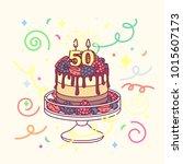 vector birthday cake with... | Shutterstock .eps vector #1015607173