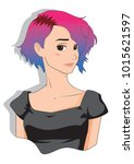 portrait of a beautiful manga... | Shutterstock .eps vector #1015621597