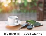 cup of hot coffee   key and... | Shutterstock . vector #1015622443