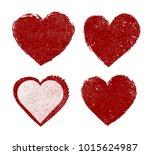 set of heart icons.grunge love...   Shutterstock .eps vector #1015624987