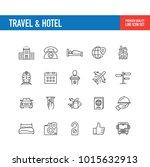 travel hotel line icon | Shutterstock .eps vector #1015632913