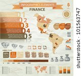 Old infographics set. America Map and Information Graphics with finance icons. Easy to edit - stock vector