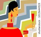 A Glamorous Lady Holds A Glass...