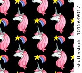 seamless pattern with cute... | Shutterstock . vector #1015649017