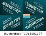 isometric alphabet 4 in 1. 3d... | Shutterstock .eps vector #1015651177