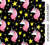 seamless pattern with cute... | Shutterstock . vector #1015652887