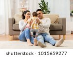 family  parenthood and people... | Shutterstock . vector #1015659277
