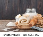 puff pastry dough. homemade... | Shutterstock . vector #1015668157