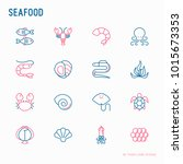 seafood thin line icons set ... | Shutterstock .eps vector #1015673353