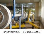 dumbbell at fitness gym to... | Shutterstock . vector #1015686253