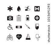 set of 16 various medical icons.... | Shutterstock .eps vector #1015691293