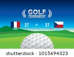 vector of golf tournament with... | Shutterstock .eps vector #1015694323