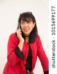 lady talking on the phone with... | Shutterstock . vector #1015699177