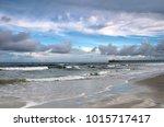 atlantic ocean beach view.... | Shutterstock . vector #1015717417