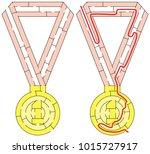 easy gold medal maze for... | Shutterstock .eps vector #1015727917