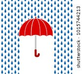 red umbrella under rain ... | Shutterstock .eps vector #1015744213