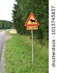 moose warning roadsign in... | Shutterstock . vector #1015745857