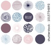 set of circles and leaves ... | Shutterstock .eps vector #1015754893