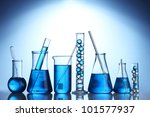 test tubes with blue liquid on... | Shutterstock . vector #101577937