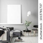 mock up poster frame in hipster ... | Shutterstock . vector #1015781737