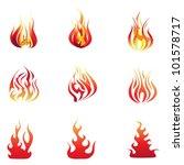 vector flame set | Shutterstock .eps vector #101578717