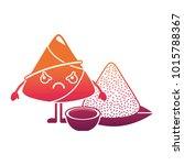 kawaii angry rice dumpling with ... | Shutterstock .eps vector #1015788367