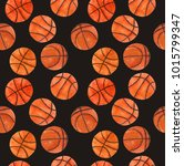 watercolor basketball ball ... | Shutterstock . vector #1015799347