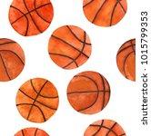 watercolor basketball set  hand ... | Shutterstock . vector #1015799353