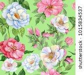 rosehips watercolor seamless... | Shutterstock . vector #1015834537
